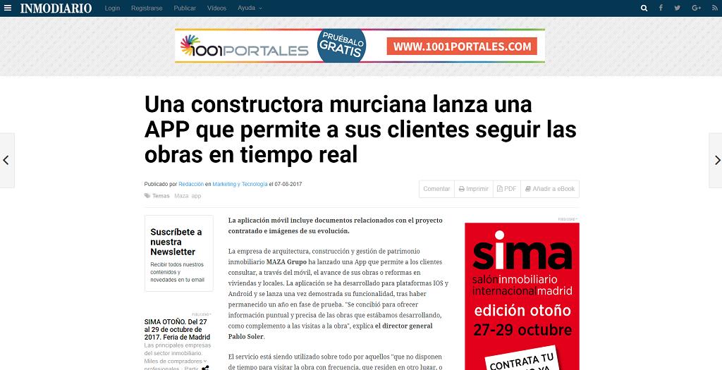 Inmodiario se hace eco de la nueva app de MAZA Grupo para seguir las obras