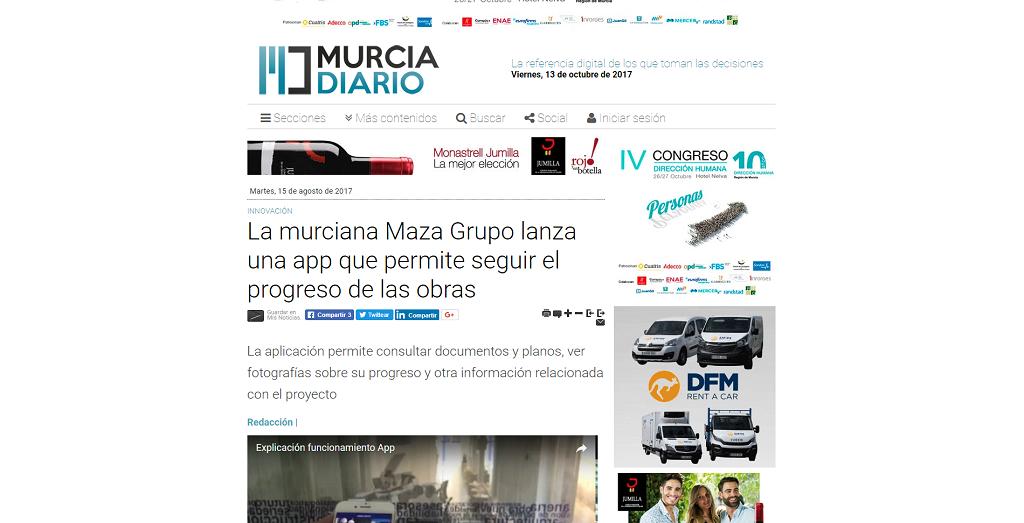 Murcia Diario destaca en la sección de innovación la nueva app de MAZA Grupo