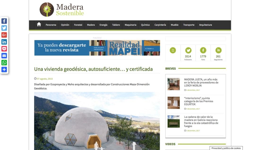 Madera Sostenible habla sobre la casa geodésica de MAZA Grupo