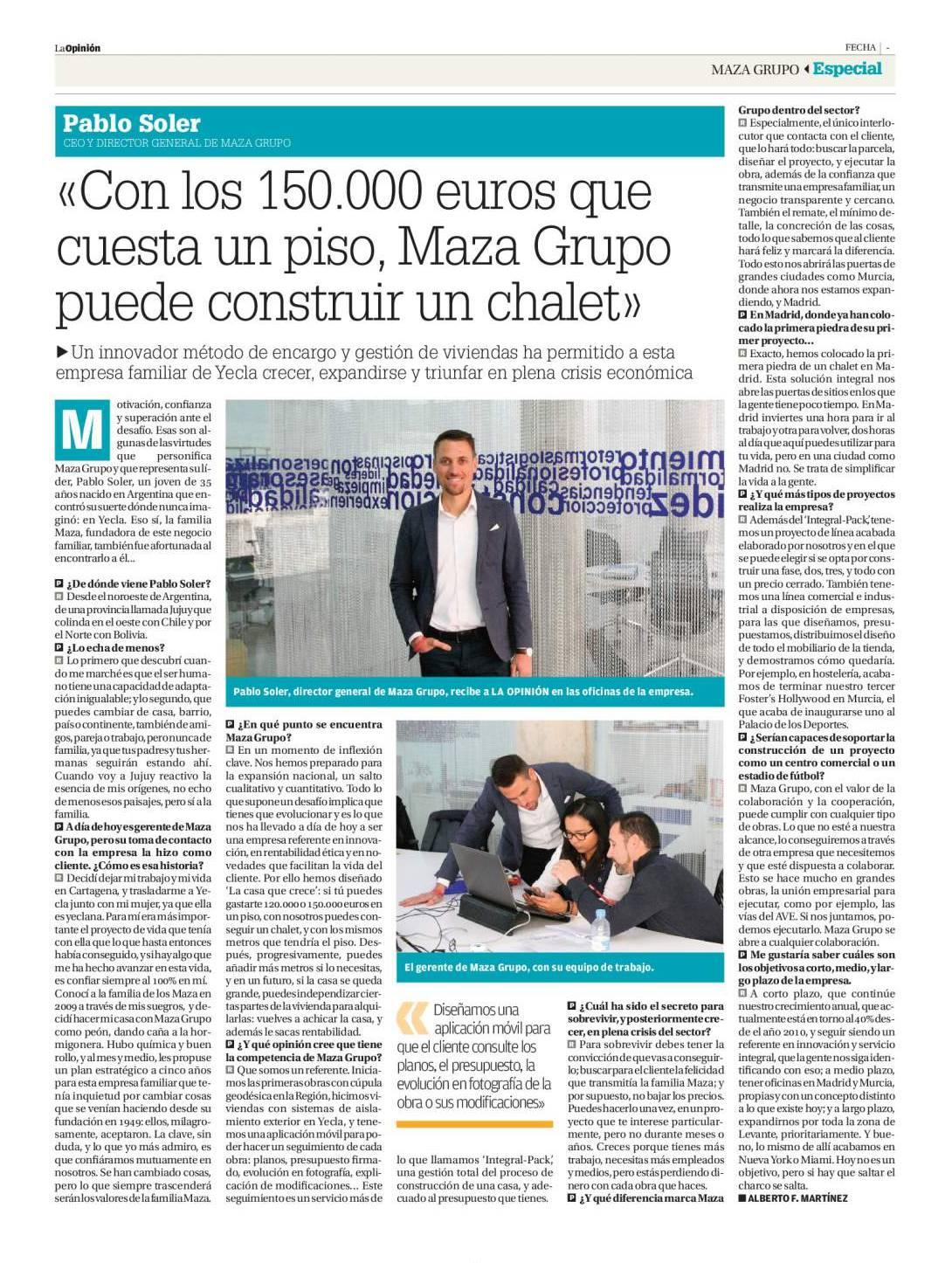La Opinión de Murcia entrevista a Pablo Soler, director general de MAZA Grupo